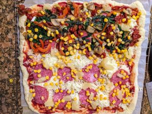 kwadratowa pizza dla dzieci dorosłych